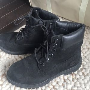 TIMBERLANDS BLACK WATERPROOF 6INCH BOOTS LEATHER